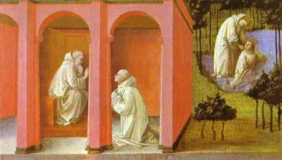 Święty Benedykt wysyła Maura na pomoc tonącemu Placydowi