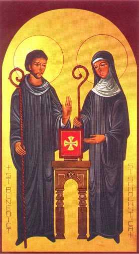Święta Scholastyka i jej rodzony brat, św. Benedykt z Nursji