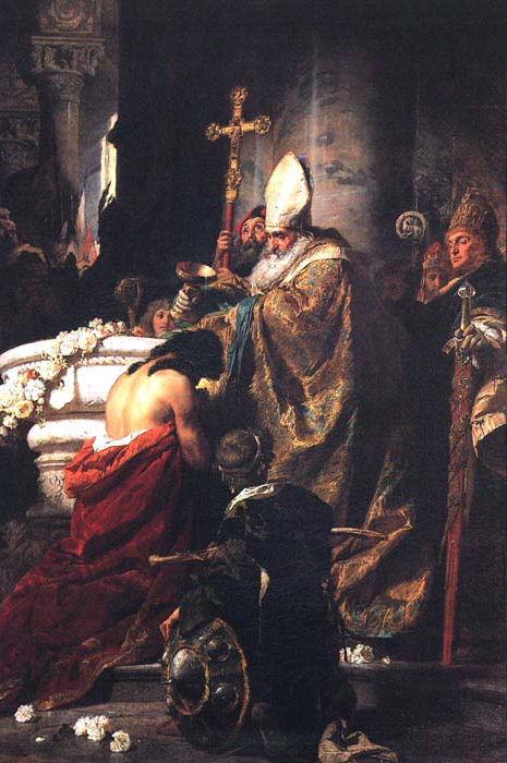 Stefan według legendy przyjmuje chrzest z rąk św. Wojciecha