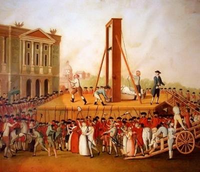 Ścięcie na gilotynie - powszechna metoda wykonywania wyroków śmierci w czasie rewolucji francuskiej