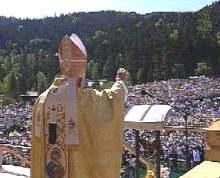 Św. Jan Paweł II podczas Mszy św. beatyfikacyjnej, Zakopane, 6 czerwca 1997 r.